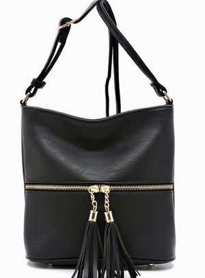 Black taller messenger with tassel zip front