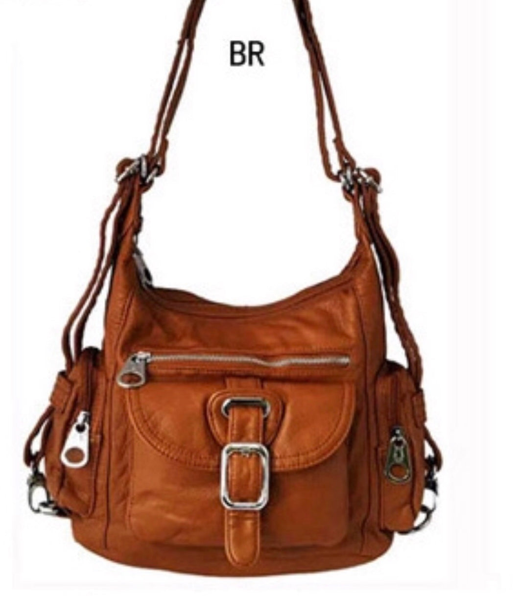 Brown small 3 in 1 style backpack purse