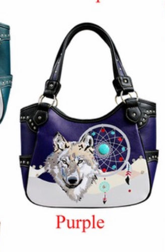 Purple wolf with dreamcatcher purse