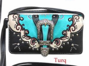 Turquoise swirl buckle wallet with crossbody strap