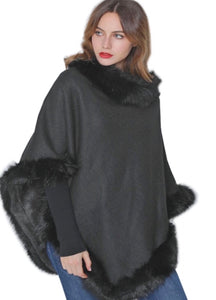 Black poncho with black faux fur trim
