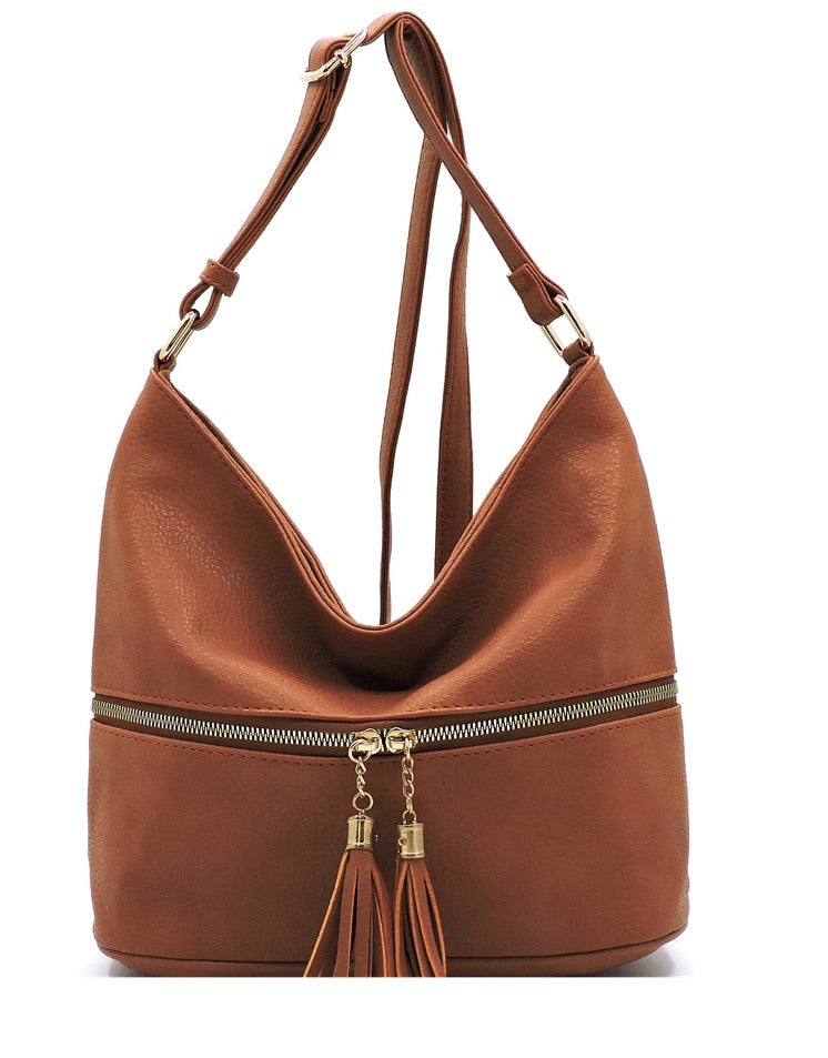 Brown messenger with tassel zipper