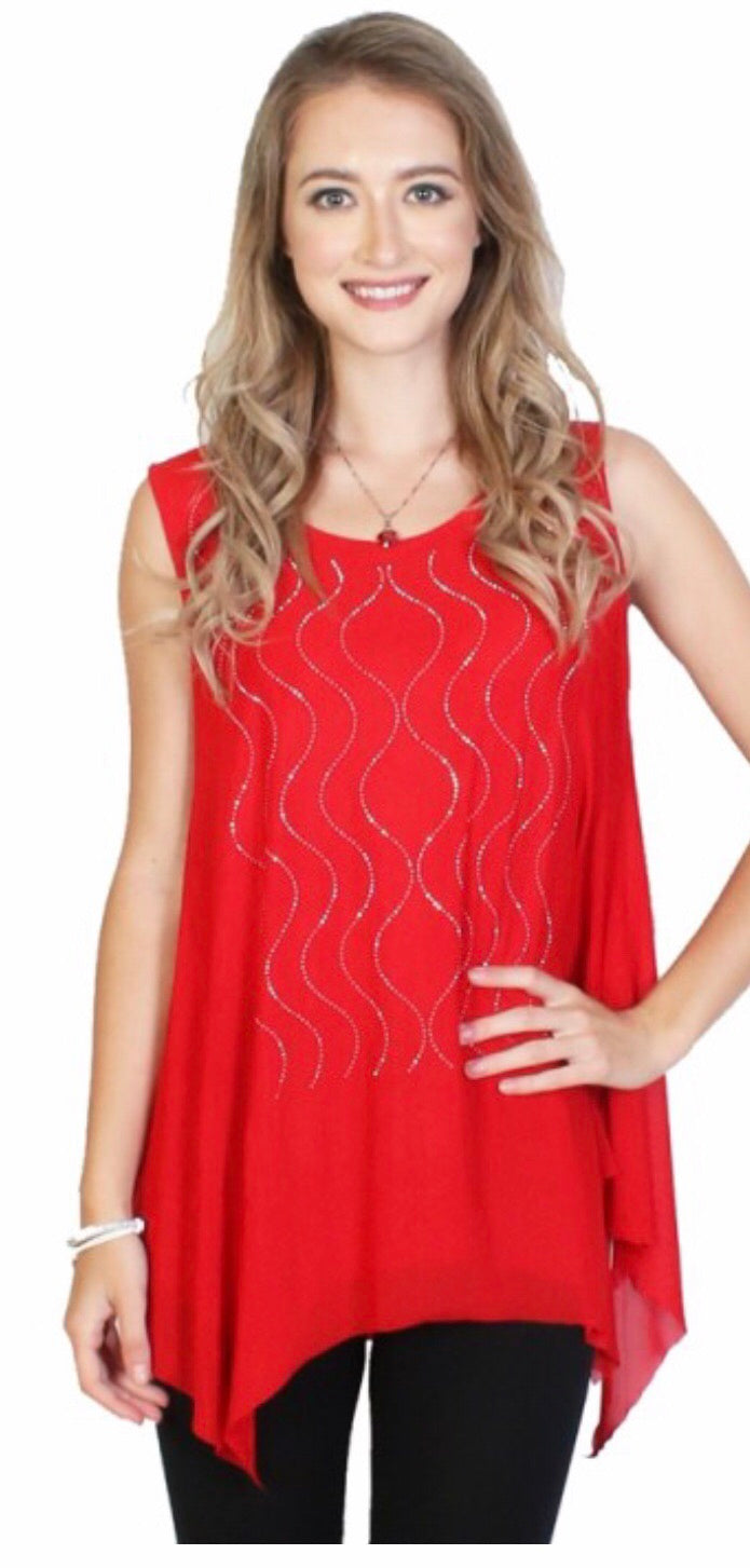 Red Sparkle Top with Squiggle Design