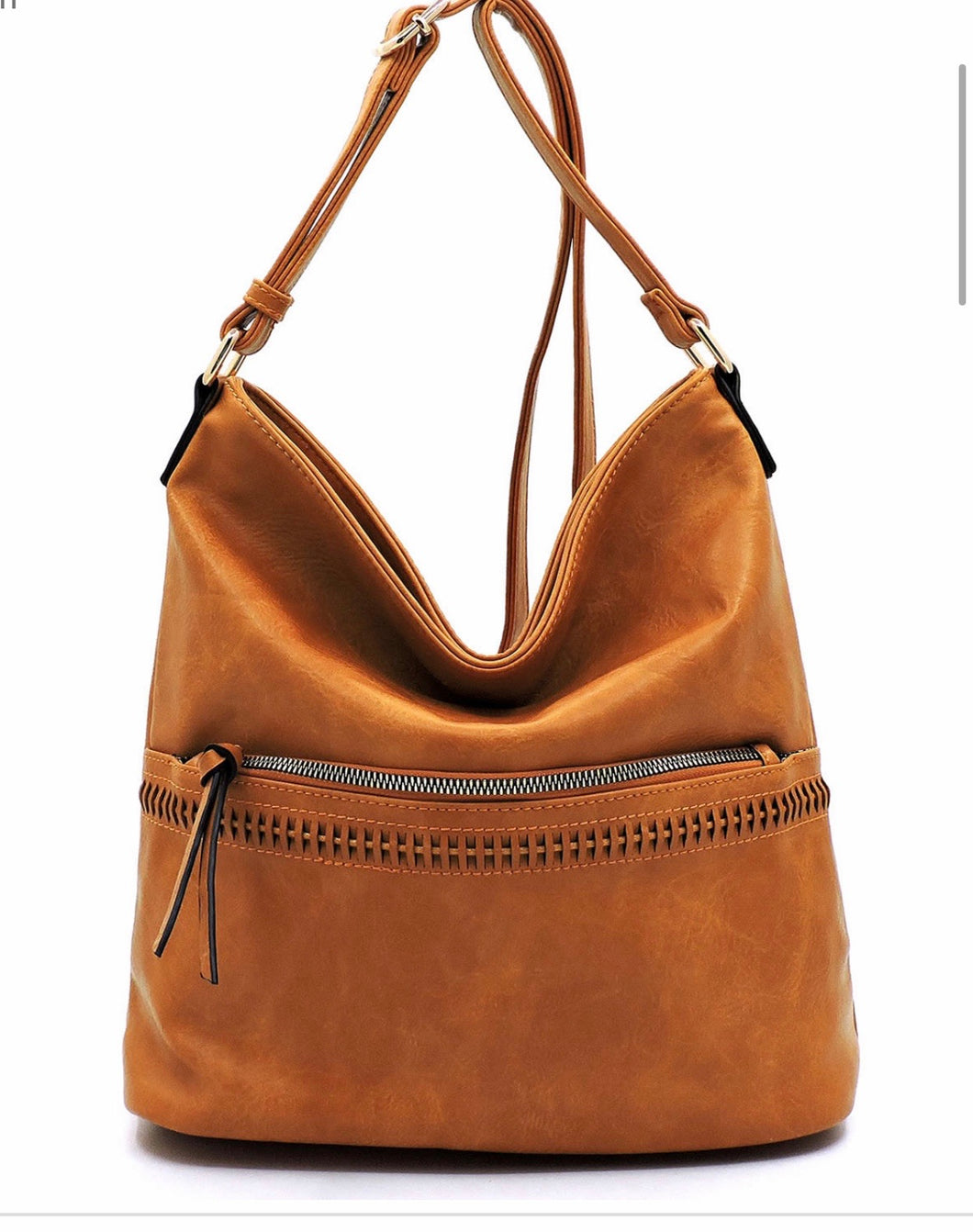 Large tan hobo messenger with front zipper