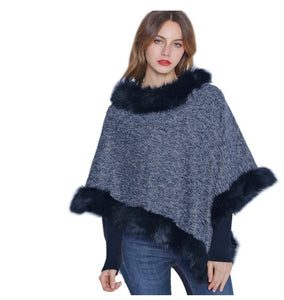 Navy and white poncho with black faux fur trim