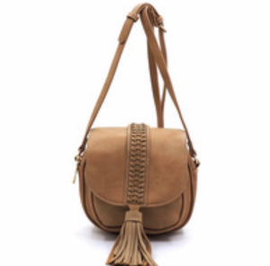 Brown flap messenger with tassel