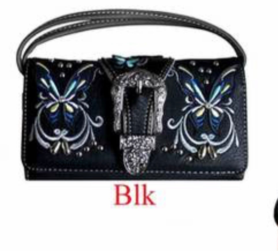 Black butterfly buckle wallet with crossbody strap