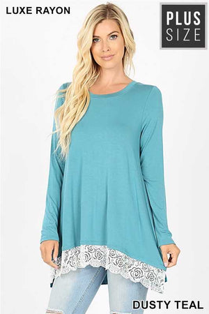 Dusty teal lace tunic