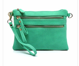 Turquoise small 2 zipper front messenger