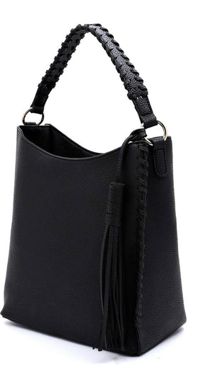 Black pebbled bucket purse