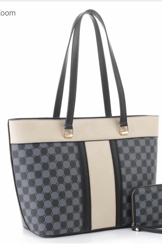 Black/cream FW tote with circle pattern