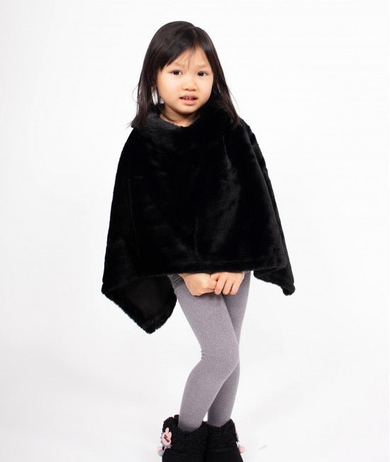 Girls plush poncho with faux fur neck
