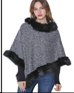 Black/Grey poncho with black faux fur trim
