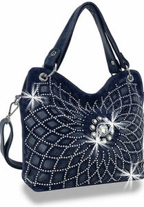 Navy Web Bling Handbag