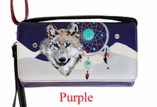 Purple wolf dreamcatcher wallet with crossbody strap