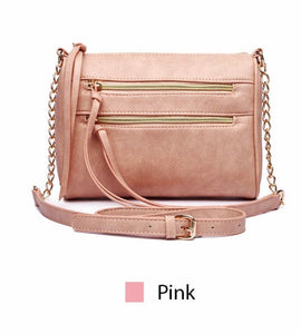 Pink 2 zipper messenger with chain