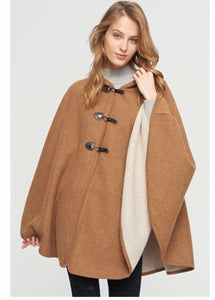 Brown hooded poncho with 3 snap closure