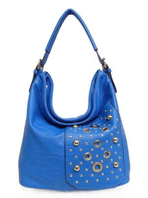 Blue Handbag with Front Pocket gold circles