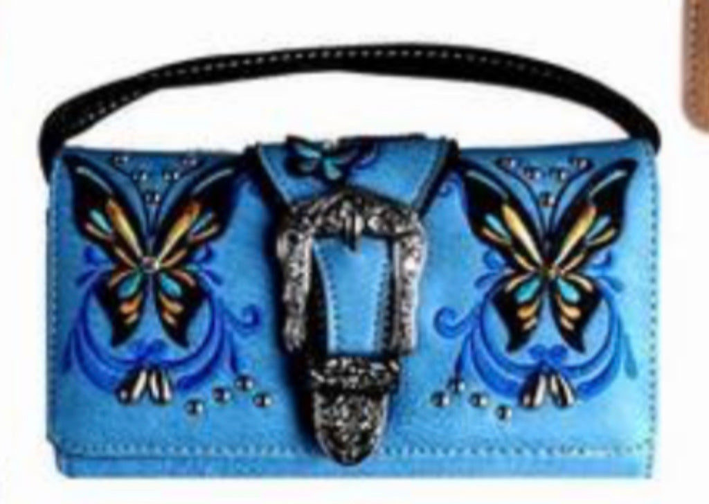 Lav butterfly buckle wallet with crossbody strap