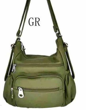 Green 3 in 1 with zip front pouch and elastic pocket sides