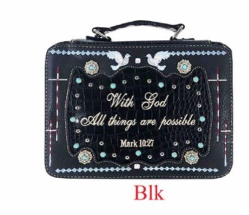 Black bible cover Mark 10:27