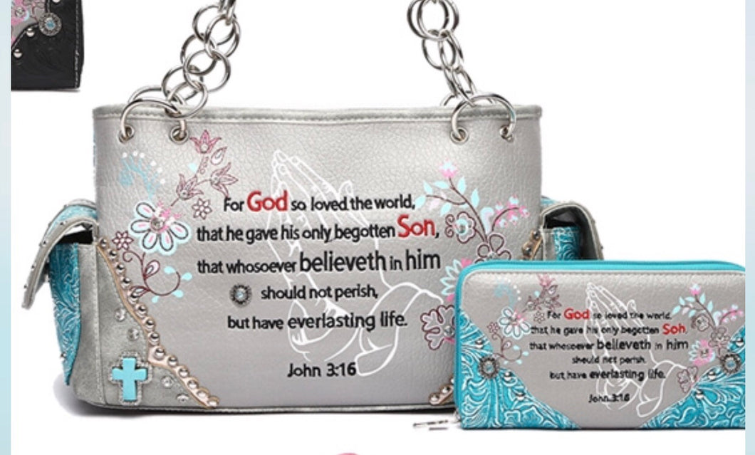 John 3:16 Purse Only - turquoise