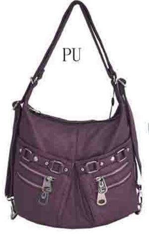 Purple 2 pouch 3 in 1 backpack purse