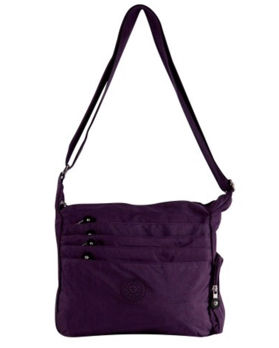 Purple fabric messenger with zipper front