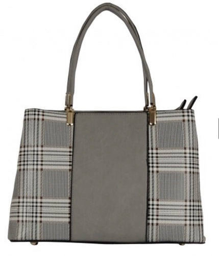 Grey plaid handbag with crossbody strap