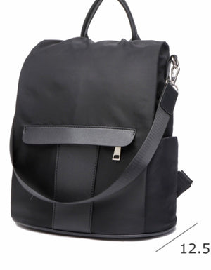 Black nylon anti-theft backpack