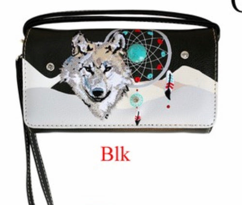 Black wolf dreamcatcher wallet with crossbody strap