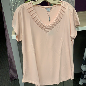 Blush short sleeve top with pintuck neckline