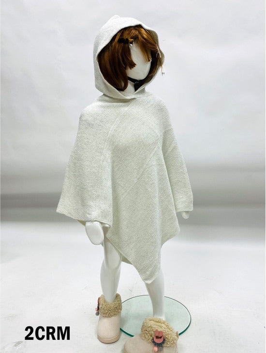 Girls cream poncho with hood