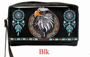 Black eagle wallet with wristlet and crossbody strap
