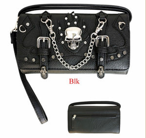 Skull wallet with chain and buckle