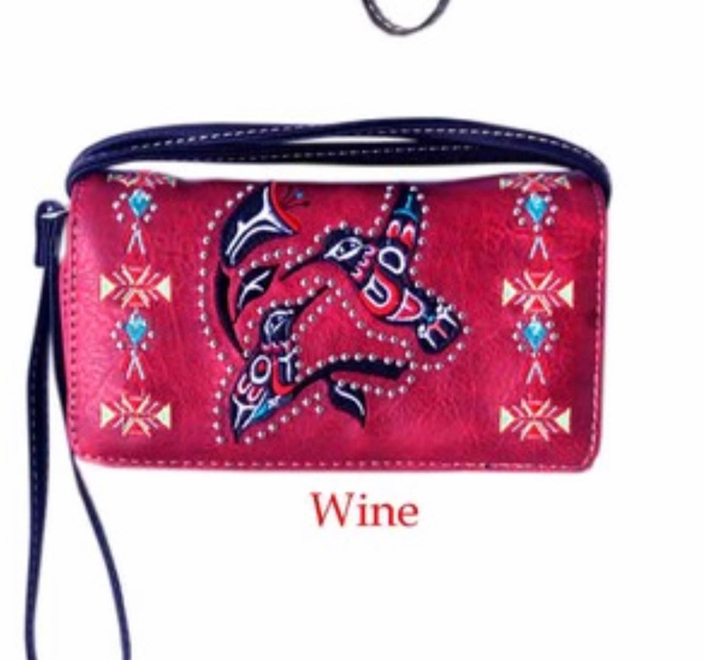 Red hummingbird wallet with crossbody strap