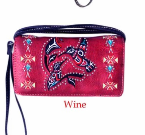 Wine/red bird wallet with crossbody strap