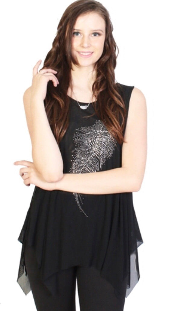Black sparkle top with single feather