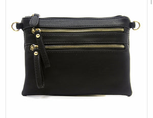 Black small 2 zipper front messenger