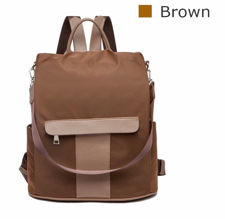 Brown nylon anti-theft backpack