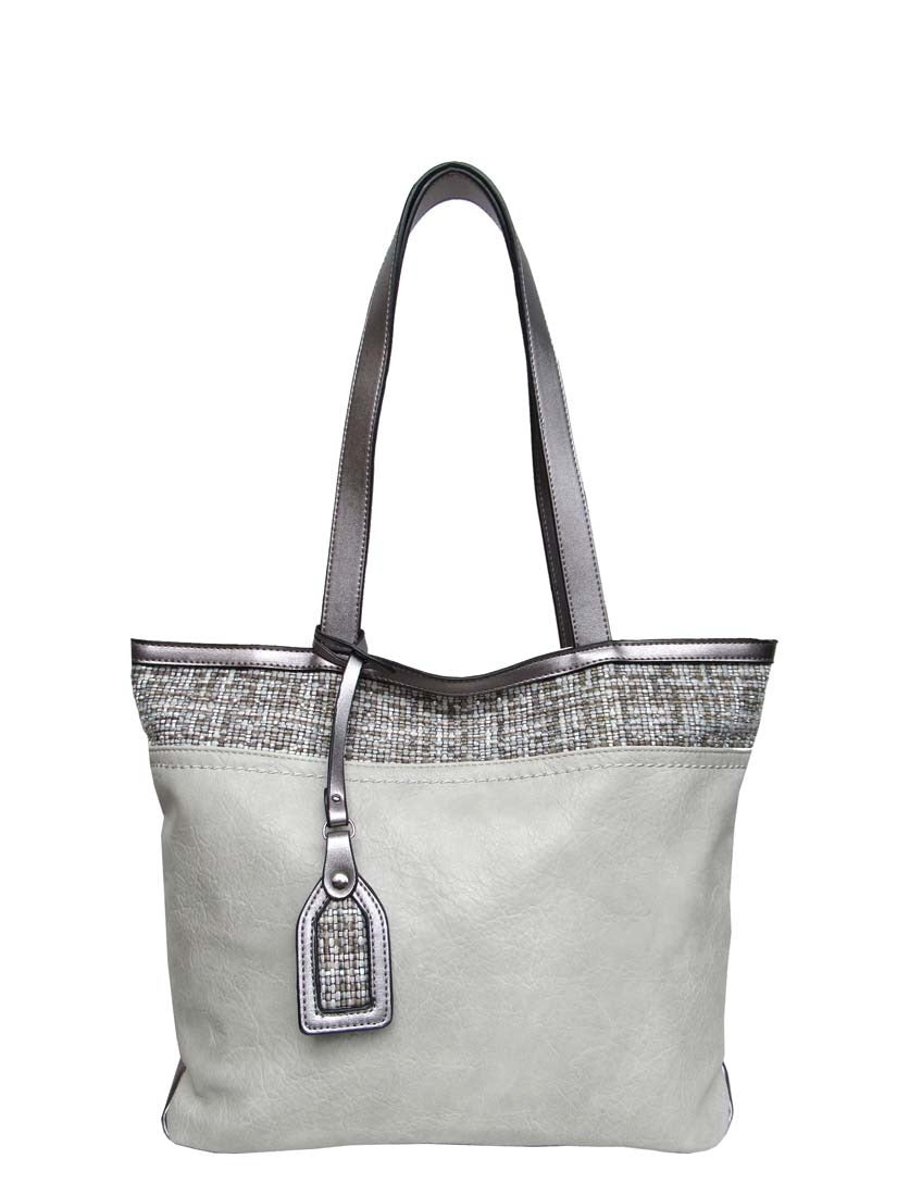 Light grey pass tote with weave pattern