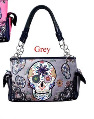 Grey sugar skull western with flower