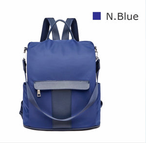 Navy nylon anti-theft backpack
