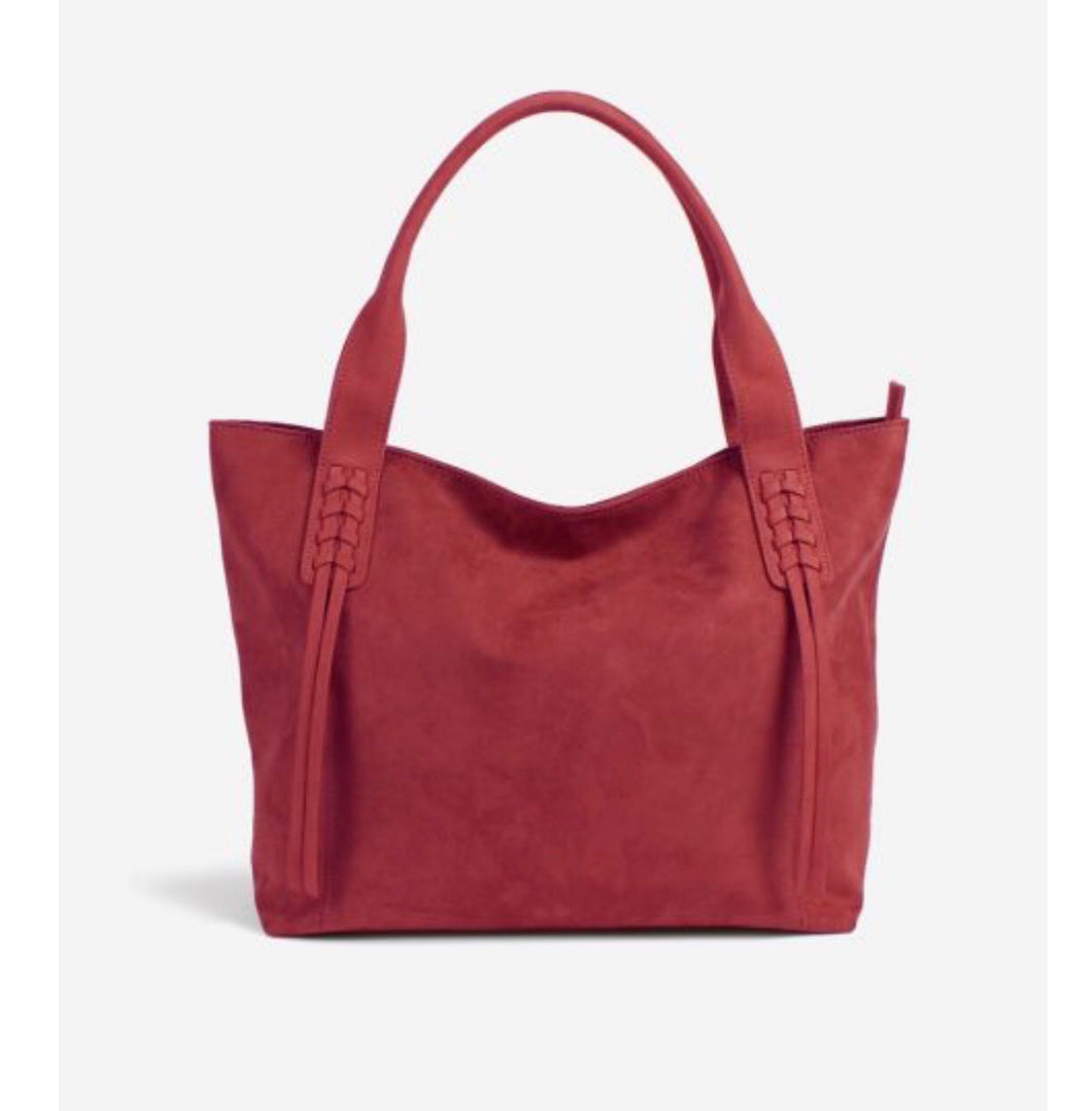 Soft Suede Shoulder Tote: Red