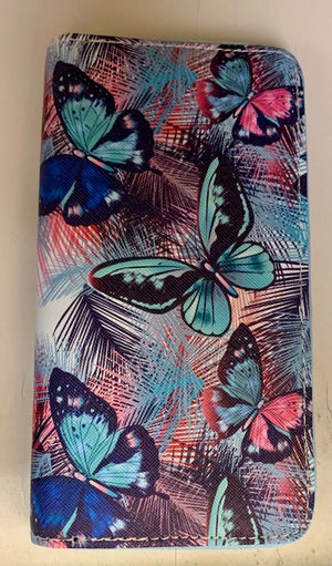 Butterfly blue with turquoise wallet