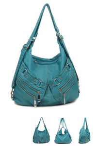 Turquoise large two pouch 3 in 1 style backpack purse