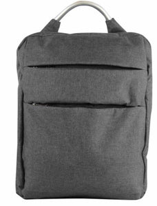 Grey fabric backpack with silver handle