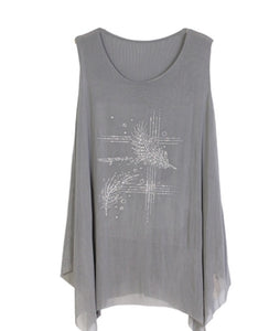 Grey sparkle top with 2 feathers