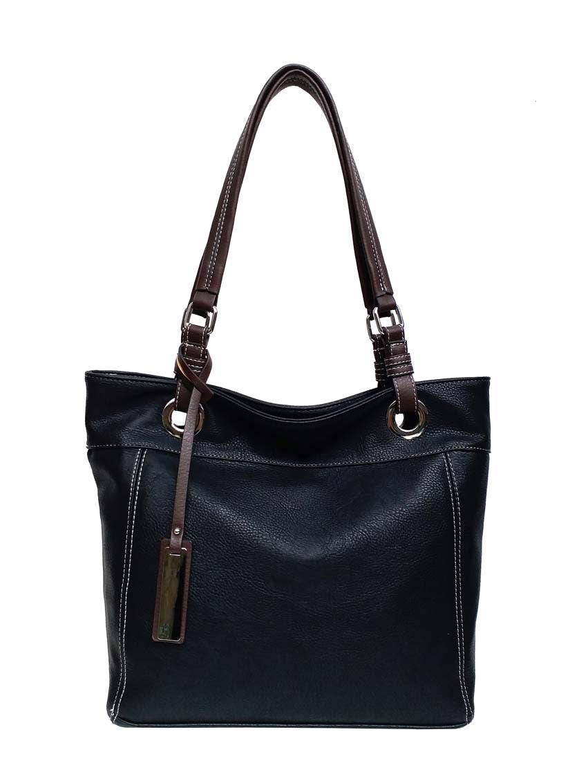 Large black pass tote with brown tag