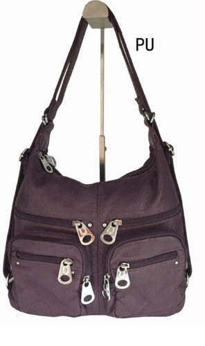 Purple 6 zipper front 3 in 1 backpack purse